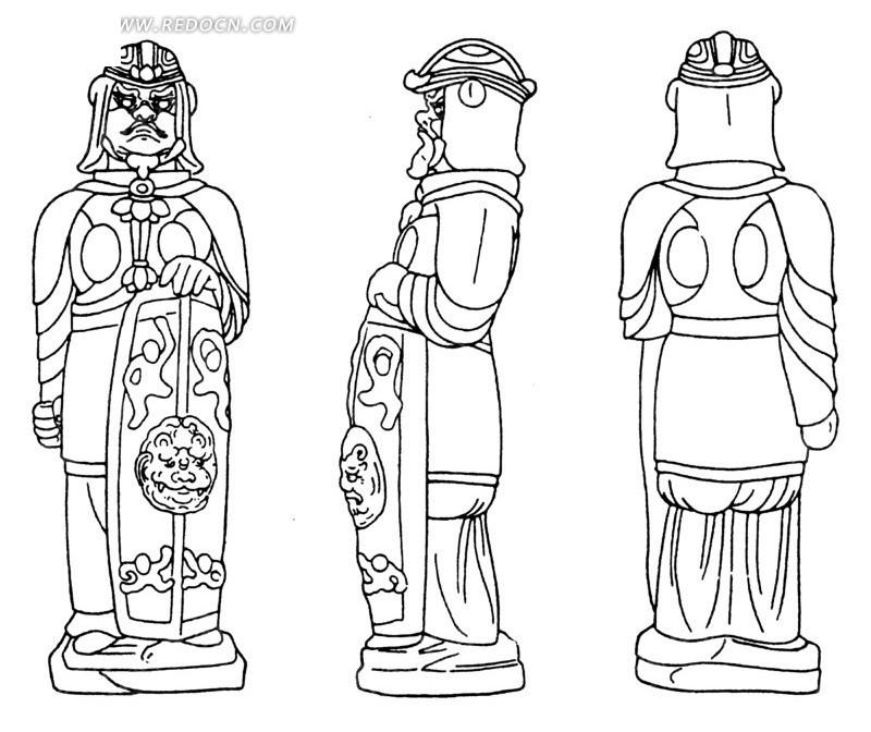 中国古代雕刻-拿着盾牌的男子的正面侧面背面