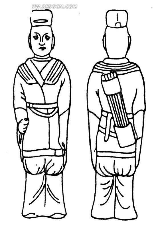 中国古代雕刻-背着箭筒的人物的正面和背面
