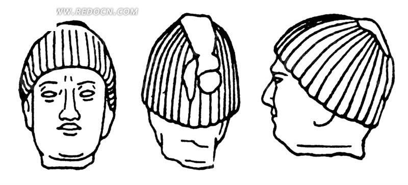 中国古代雕刻-雕刻的男子的头像的正面侧面背面