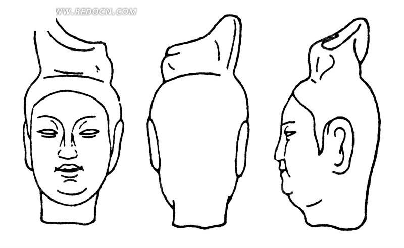 中国古代雕刻-人物头像的正面侧面背面