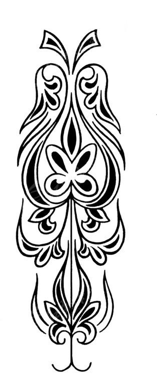 手绘古典卷曲对称花纹黑白矢量图案图片