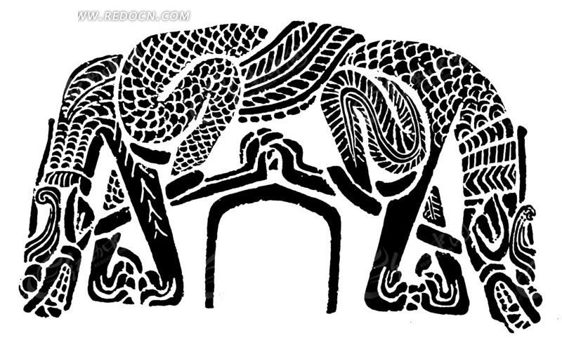 中国古典图案-动物构成的黑白的图案