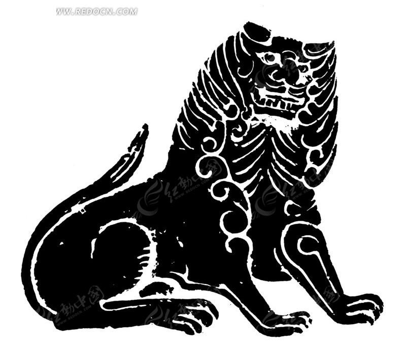 手绘蹲卧着威猛的狮子黑白矢量图案
