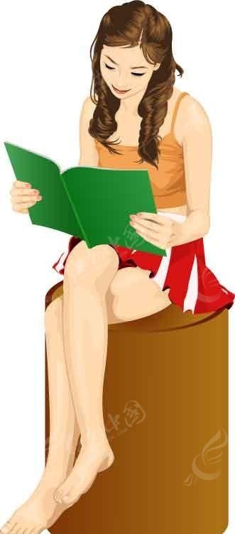 正在看书的卡通美女矢量图