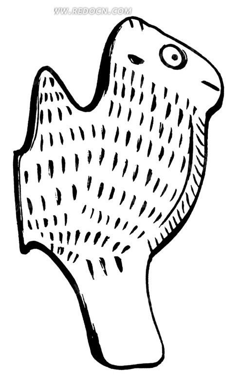 圆形点线纹起伏线构成的动物雕纹矢量图