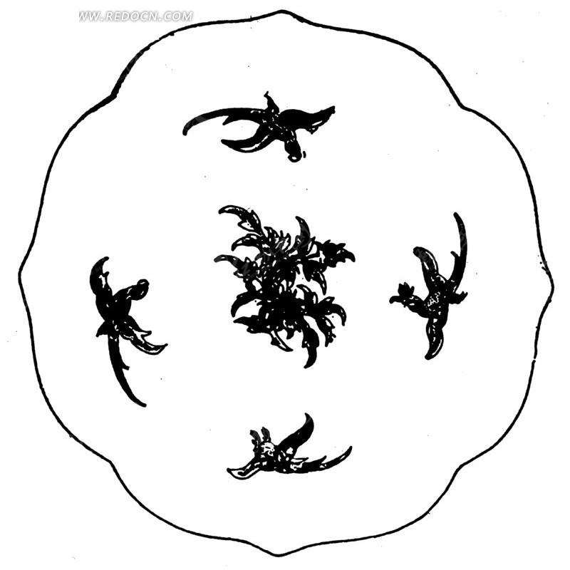 黑白花瓣插画手绘图片