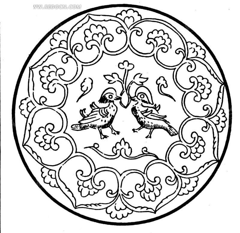 中国古典图案-鸳鸯和卷曲的藤蔓构成的圆形图案