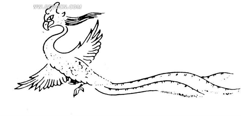 手绘线条张翼飞舞凤凰