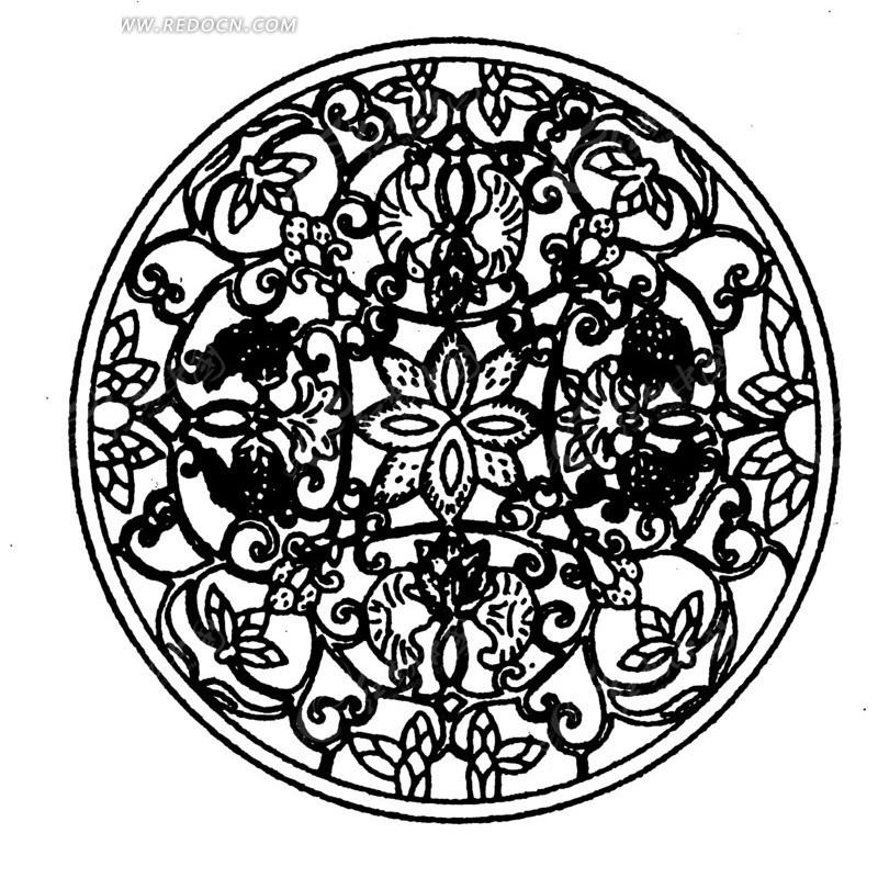 花朵 叶子 飞鸟 斑驳 圆形图案 中国风 中国古典 艺术 装饰 黑白