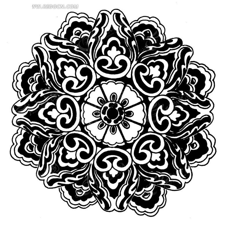 花瓣 精美 图案 中国风 中国古典 艺术 装饰 黑白  传统图案 矢量素材