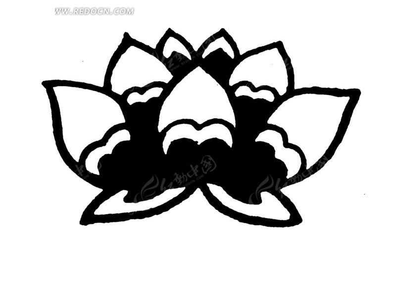 莲花简笔画黑白