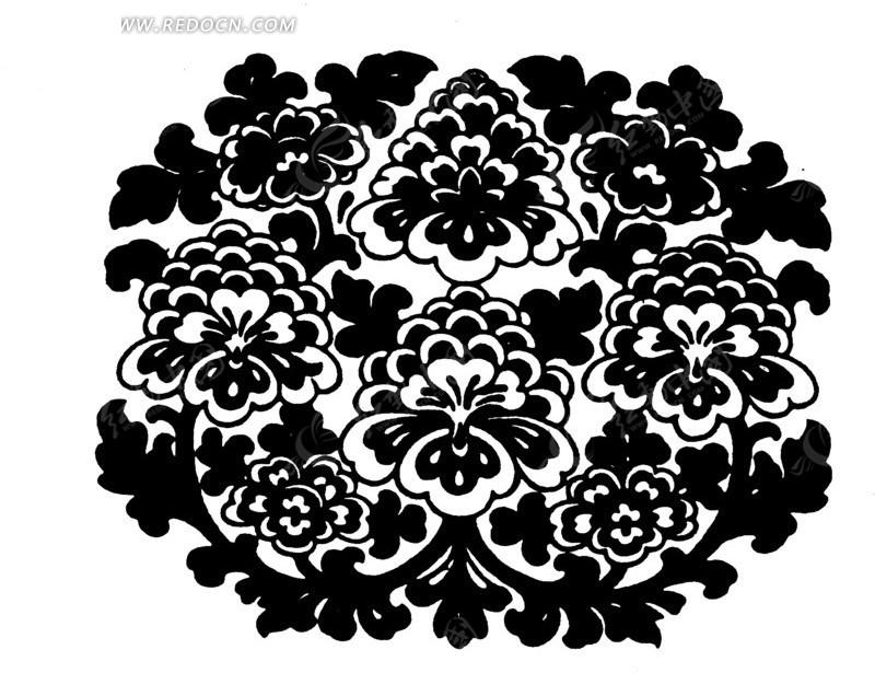 手绘盛开的叶蔓牡丹花