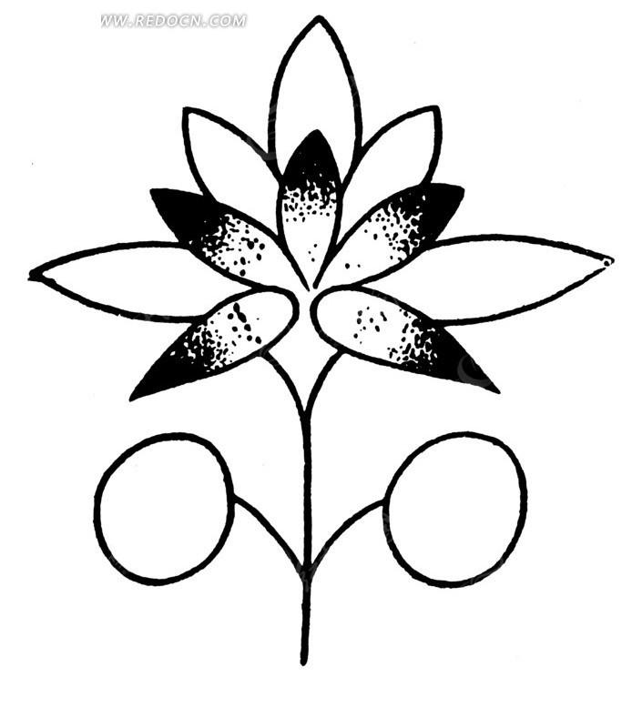 中国古典图案-花朵和圆形构成的图案图片