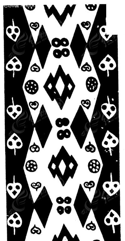 菱形和几何形构成的黑白图案