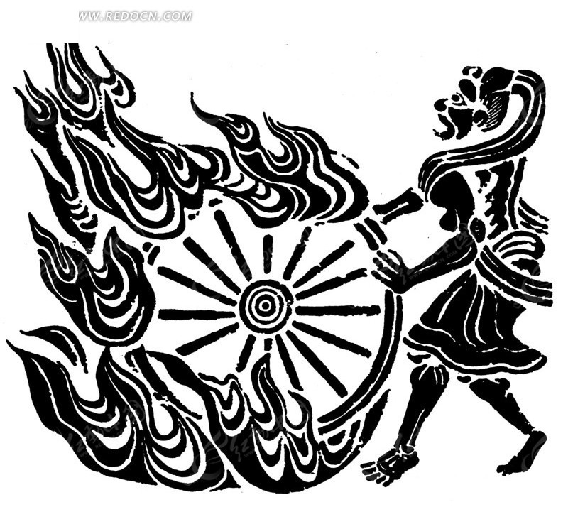 中国古典图案-怪物和轮子以及火纹