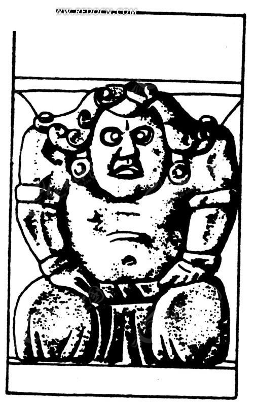 中国古代雕刻-卷曲头发的跪着的男子
