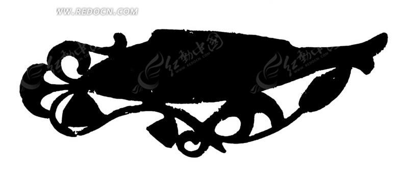 卷曲纹鱼形纹曲线纹构成的剪影图案ai素材免费下载_红图片