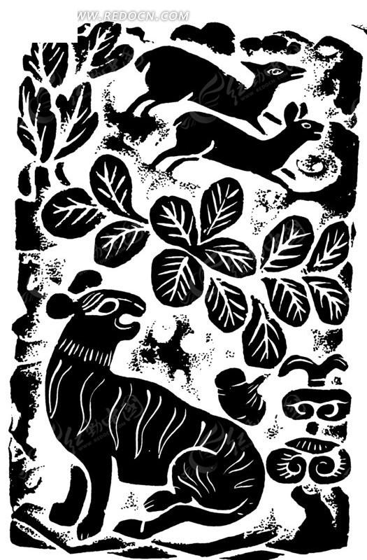 免费素材 矢量素材 艺术文化 传统图案 鹿纹虎纹叶纹卷曲纹构成的黑白