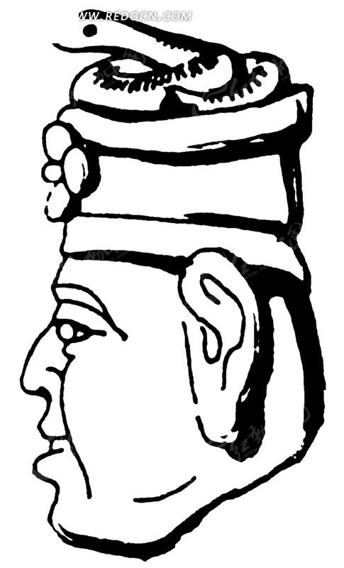 头顶盘蛇的古物人物头像雕刻