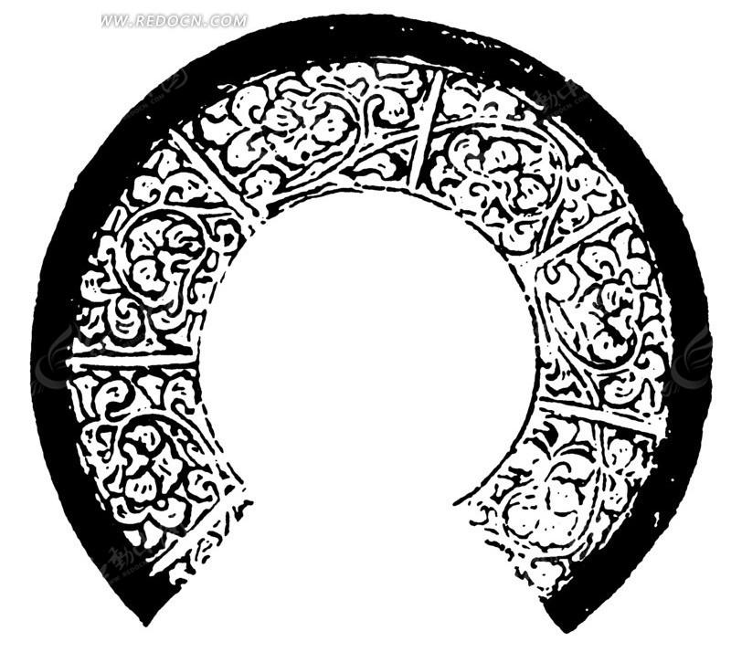 曲枝卷叶纹几何线构成的缺环古器纹理图