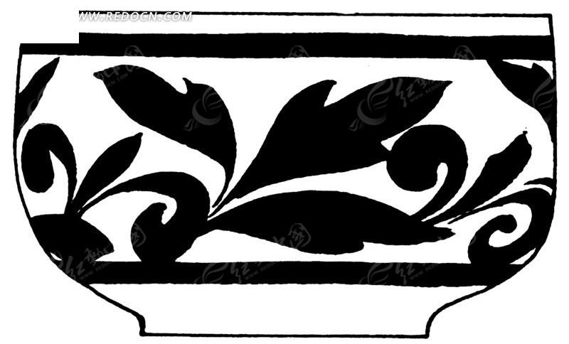 手绘陶瓷碗上卷草花纹
