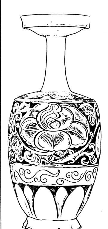 桃花纹花瓶矢量图 传统图案
