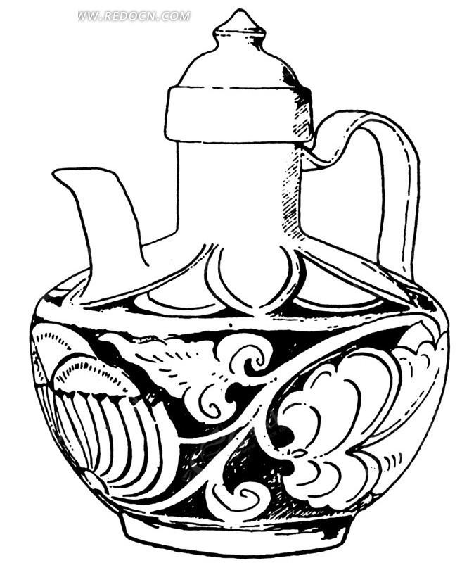 古代酒壶简笔画漫画