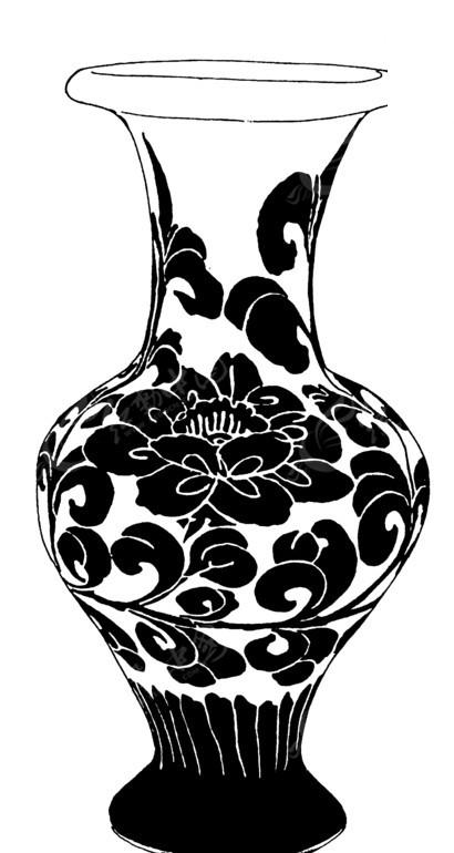手绘水瓶卷叶牡丹花图