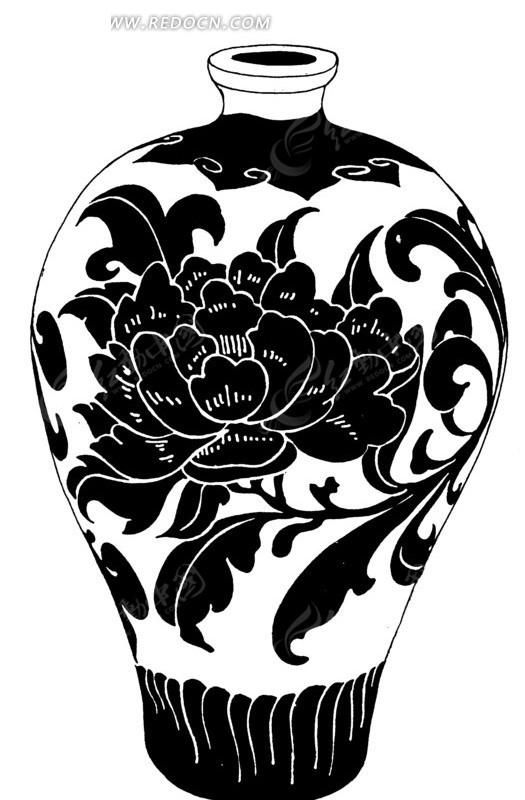 手绘水瓶叶蔓牡丹图
