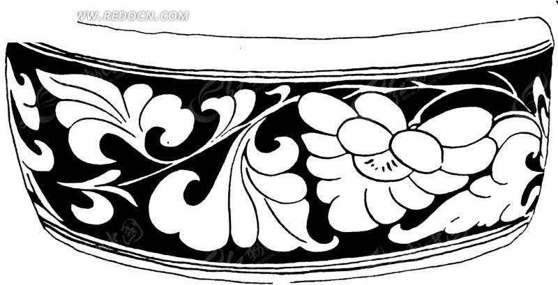 手绘陶瓷的叶蔓花纹