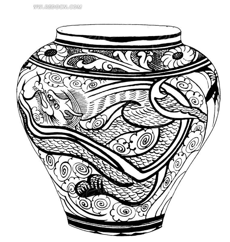 手绘壶瓶云纹腾龙图AI素材免费下载 编号1515771 红动网