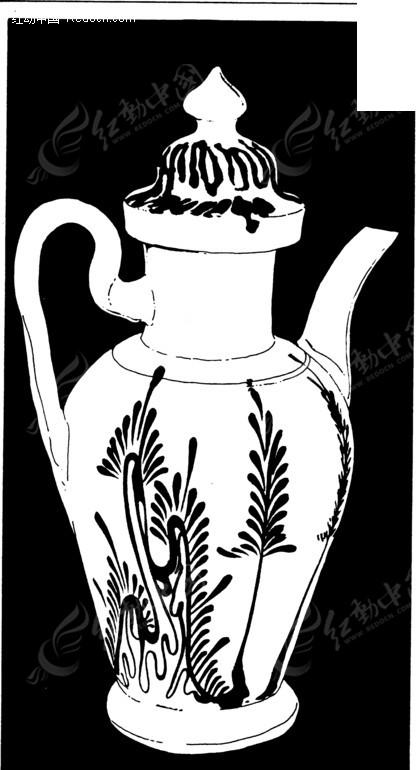 黑色背景 茶壶器皿剪影 手绘插画 花纹图案 传统图案 矢量素材