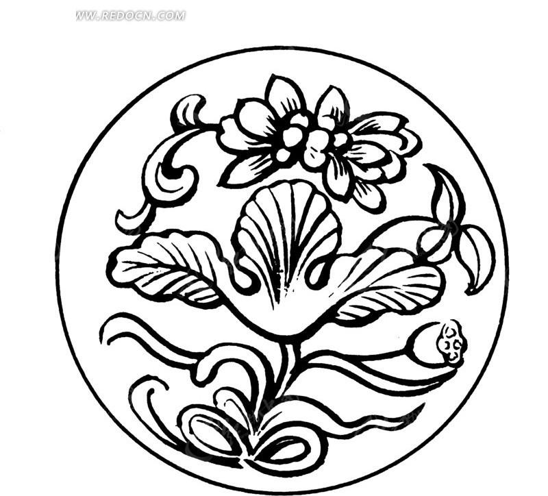 中国古典图案-花朵和叶子以及曲线构成的圆形图案图片