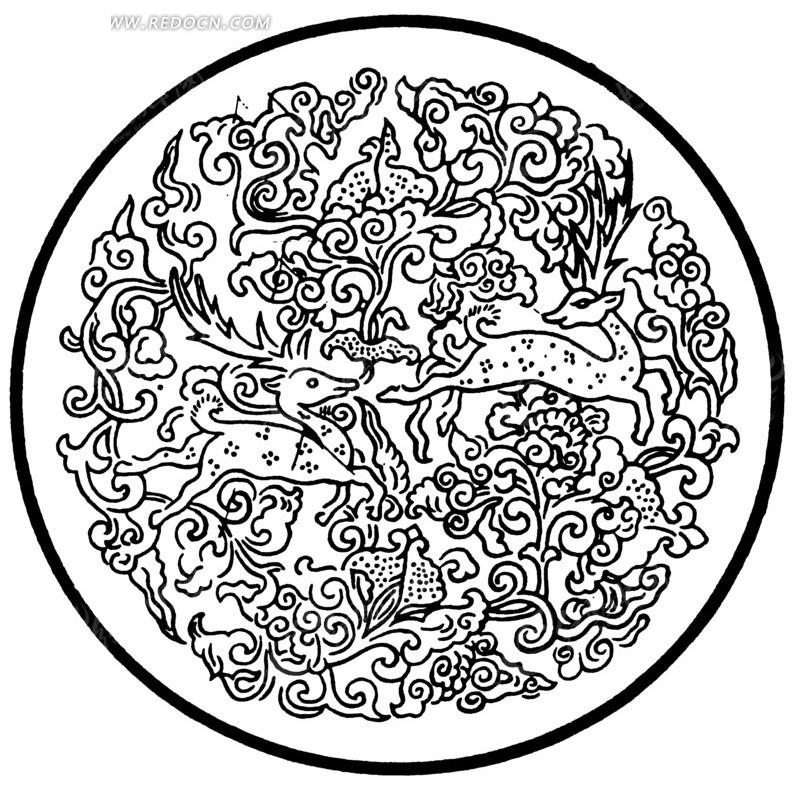 中国古典图案-动物和卷曲纹构成的圆形图案