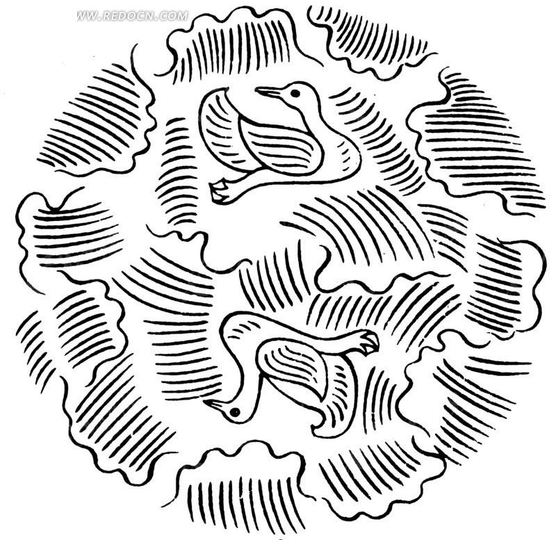 中国古典图案-飞鸟和线条构成的圆形图案图片