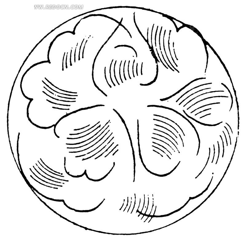 中国古典图案-线条和曲线构成的圆形图案图片