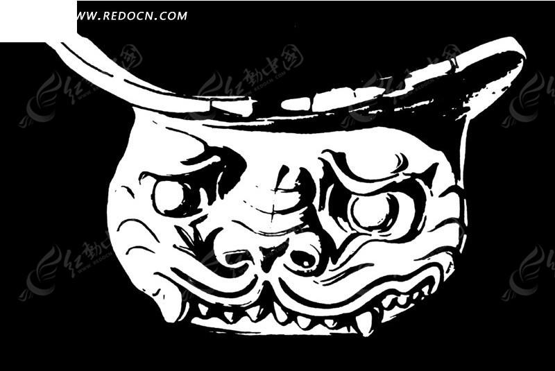 中国古代雕刻-长獠牙的兽头