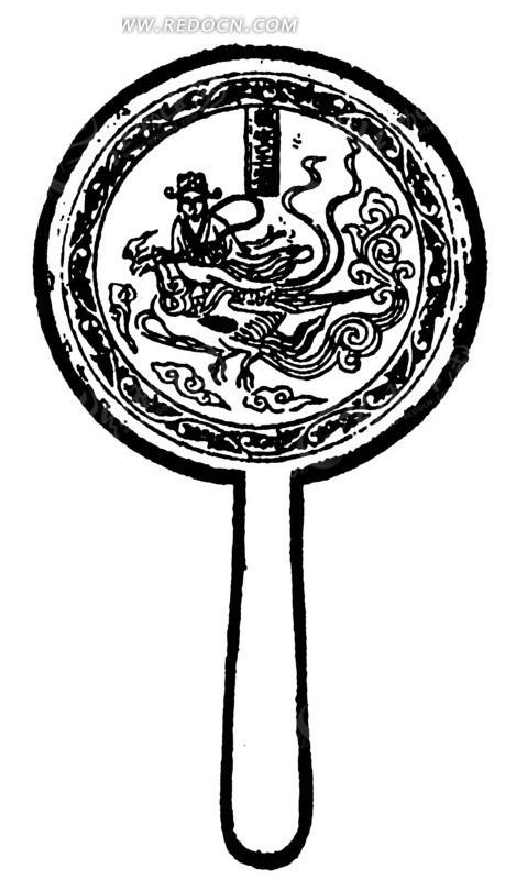 手绘人物与飞翔的凤凰的铜镜黑白矢量图案