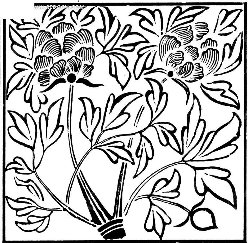 中国古典图案-花朵和带叶脉的叶子构成的方形图案图片