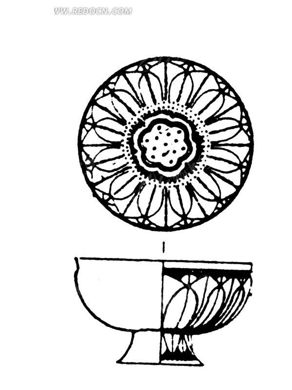 花瓣纹弧线几何线构成的杯碗形古器图图片
