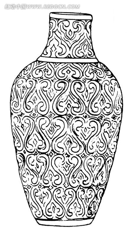 云纹线描花瓶AI素材免费下载 编号1517809 红动网