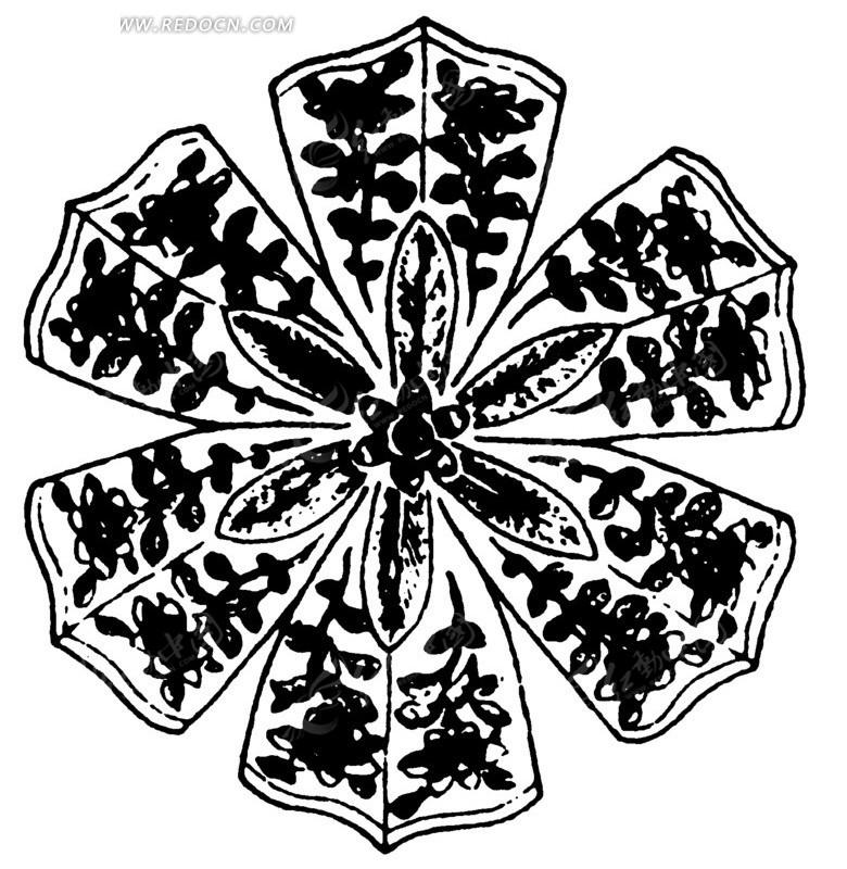 枝叶花纹花瓣纹曲线纹构成的黑白图案矢量图_传统图案