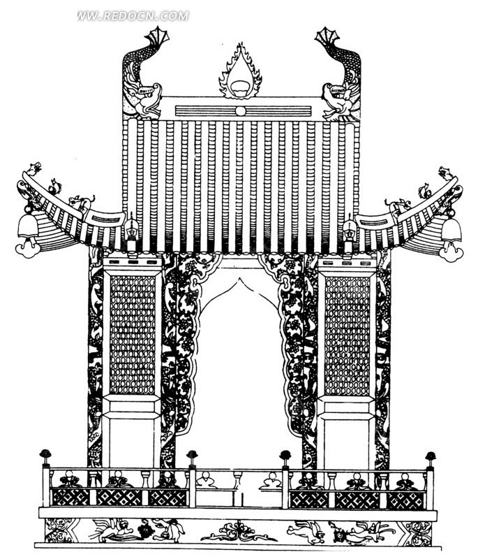 中国古典图案-房屋和栏杆构成的图案图片