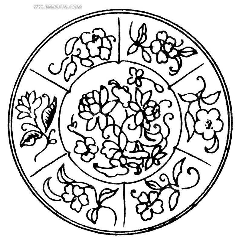 中国古典图案-花朵叶子卷曲纹构成的圆形图案