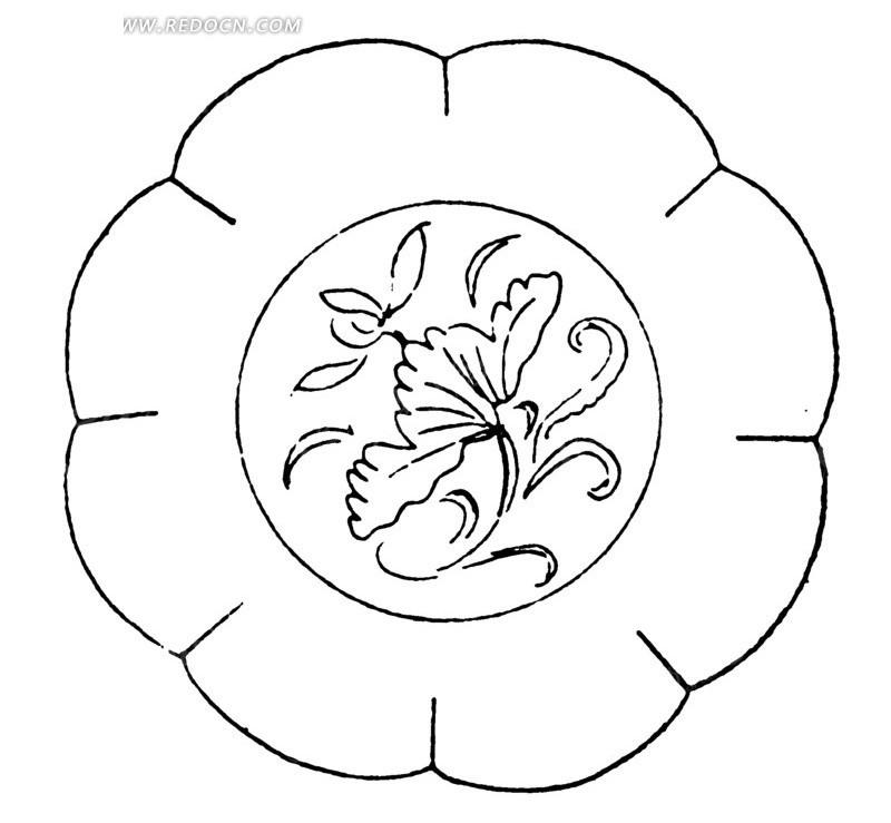 中国古代器物-荷花荷叶和细长的叶子构成的图案图片