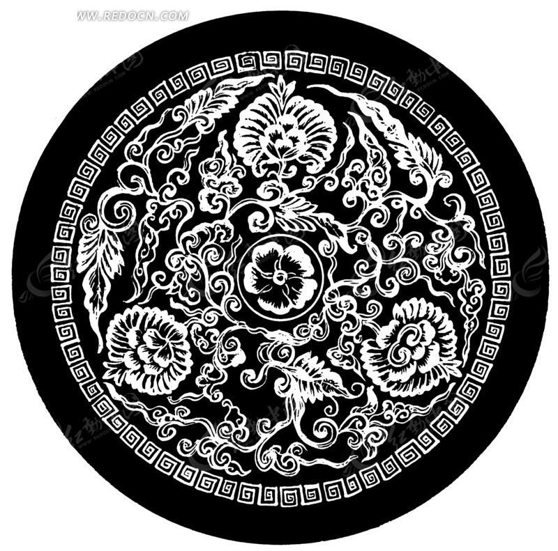 精美 中国 传统 圆形 花纹 花边 边框 底纹 传统图案 矢量素材图片