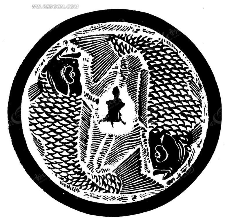 中国古典图案-双鱼和线条构成的斑驳的圆形图案