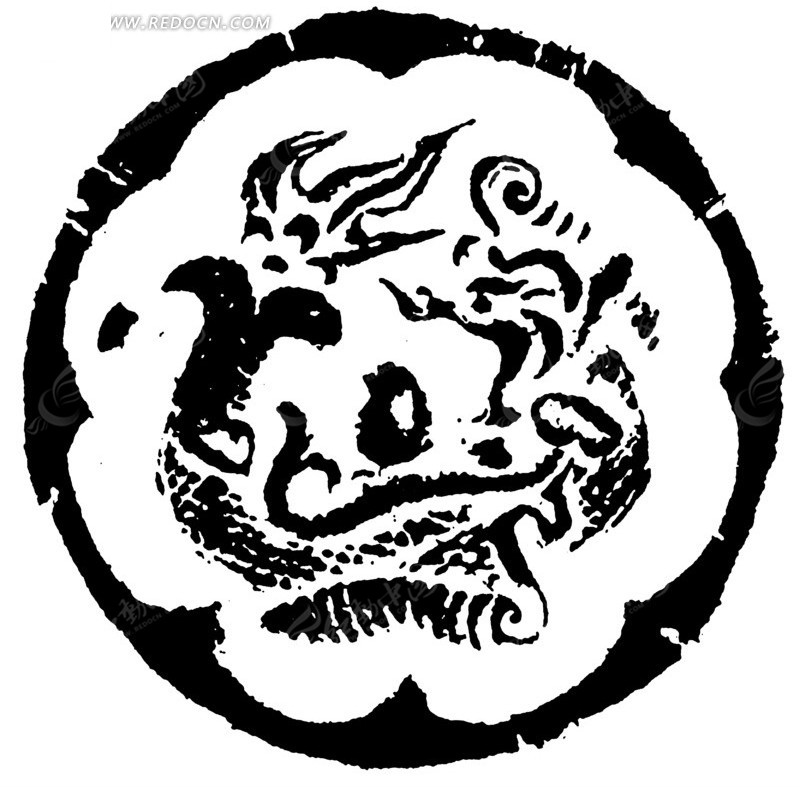中国传统圆形龙纹图片