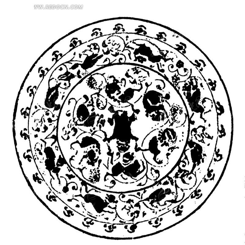 中国古典图案-不规则形和曲线构成的斑驳的圆形图案