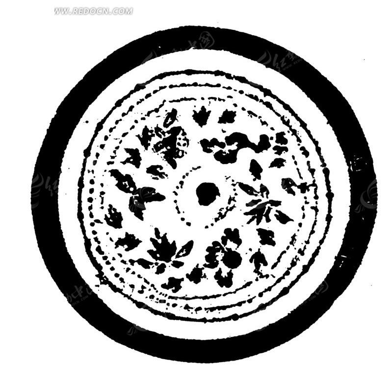 中国古典图案-不规则形构成的斑驳模糊的圆形图案